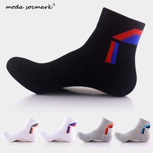 Moda Socmark Brand Cotton Men Socks Compression Breathable Socks Boy Contrast Color Standard Meias Good Quality Sheer Work Socks letter contrast graphic socks