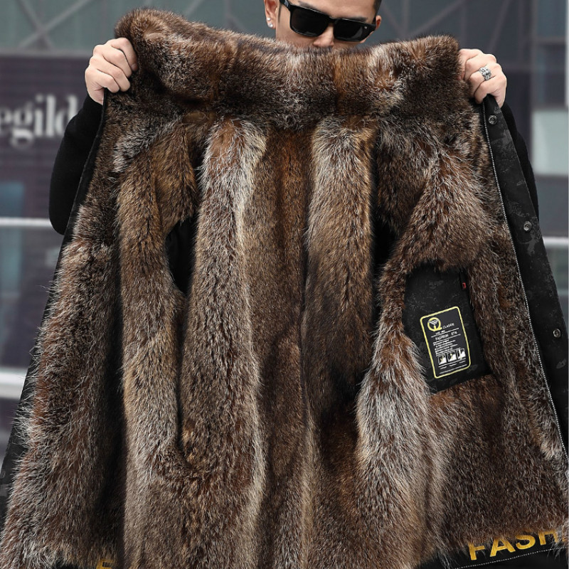 Coat Korean Raccoon Collar Winter Jacket Men Real Fur Parka Plus Size Casaco 1-19-6 YY1158