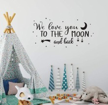 We Love You to The Moon Quote Art Decor Nursery Vinyl Wall Stickers for Boys and Grils Bedroom Scandinavian Decals LW479