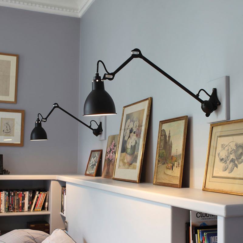 Modern Adjustable Long Swing Arm Wall Lamp Lights For Reading 360 Degree Rotatable Flexible Vintage Black Metal Wall Lamp Led Led Indoor Wall Lamps Aliexpress