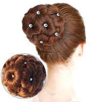 AIYEE Lockige Chignon Haarknoten Donut Clip In Extensions Haarteil Synthetische Hohe Temperatur Fiber Chignon mit 9 Blume