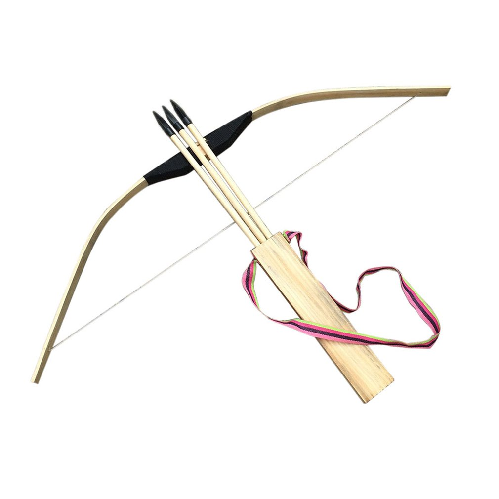 Children Kid Archery Role Play 60cm Arrows Quiver Safe Powerful Wooden Bow Set Kids Toy for Hunting Game