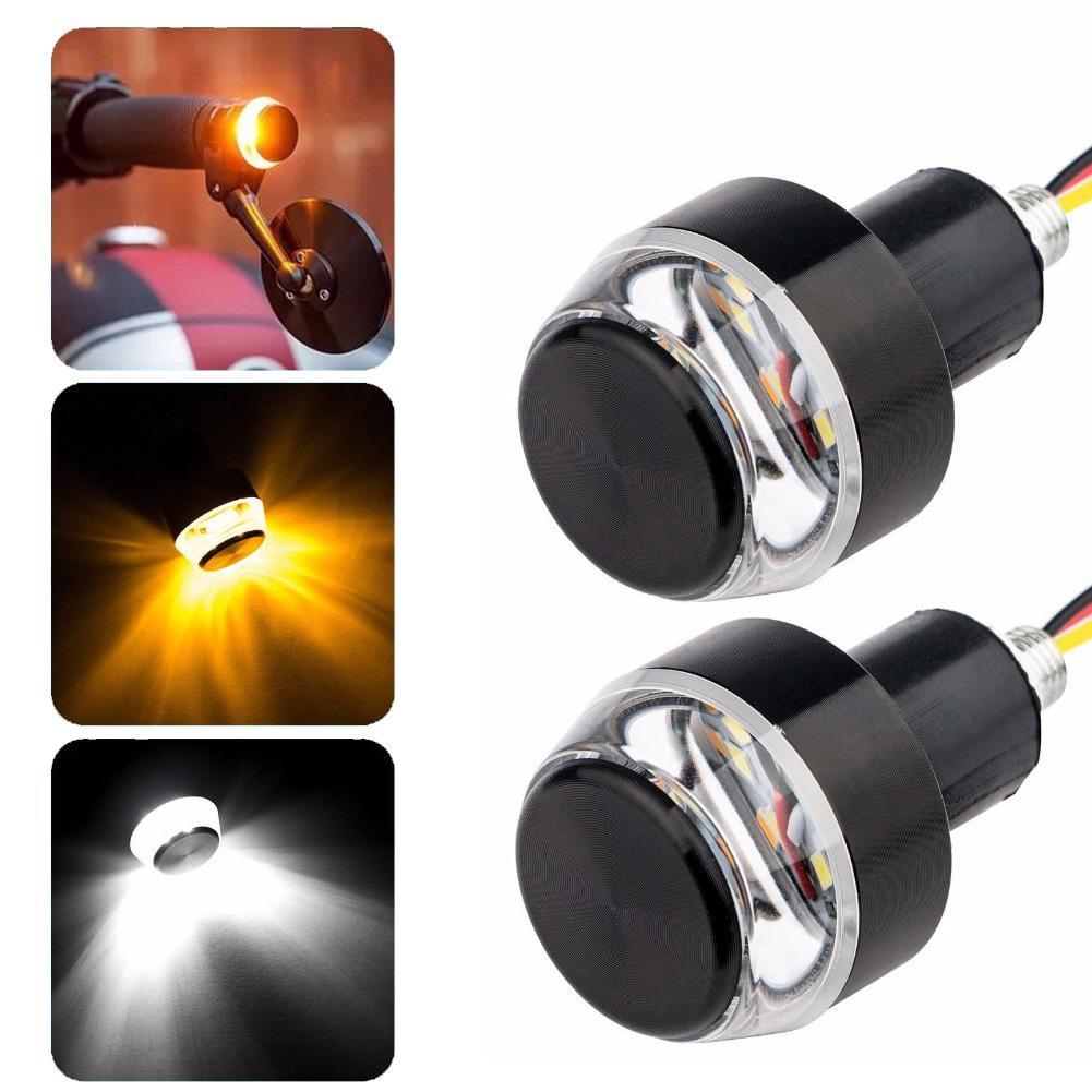 2019 1Pc Waterproof Motorcycle Turn Signal Light Grip Handlebar Plug Indicator Lamp