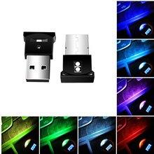 Rgb usb conduziu a luz do carro auto interior atmosfera luz mini lâmpada decorativa de iluminação emergência pc luz colorida