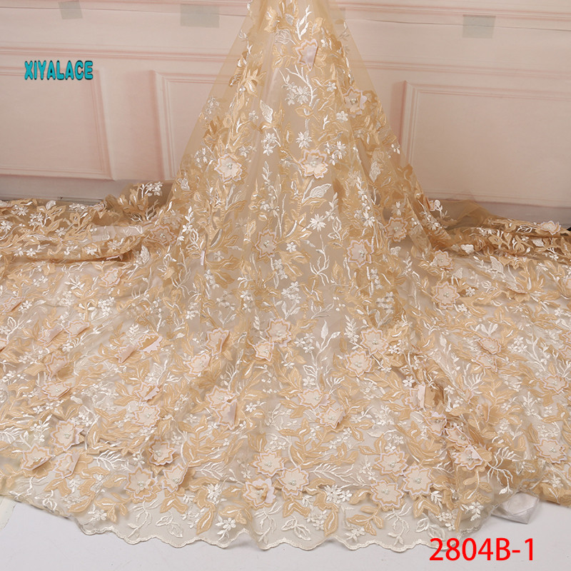 Golden 3D Flower Lace Fabric 2019 High Quality Mesh Embroidery Applique Tulle Nigerian Lace Fabrics For Bridal Wedding YA2804B-1