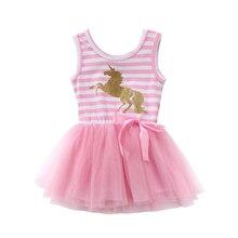Милые платья с единорогом для маленьких девочек вечерние платья принцессы без рукавов в полоску с фатиновой юбкой-пачкой для свадьбы летняя одежда для малышей От 1 до 5 лет
