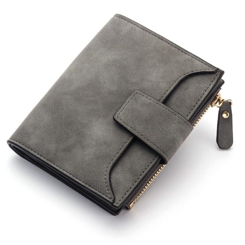 Кожаный женский кошелек маленький и тонкий кошелек с отделением для монет женские кошельки с отделением для карт Роскошные брендовые кошельки дизайнерский кошелек - Цвет: DarkGray