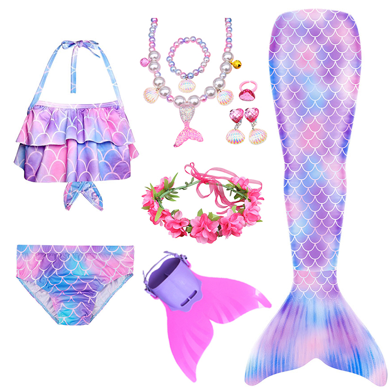 Girls Swimming Mermaid Tail With Monofin Flipper Mermaid Costume Cosplay Children Swimsuit Fantasy Beach Bikini