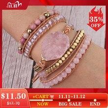 Csja pulseira com pedra natural feminina, bracelete com pedra natural rosa e quartzo, em couro, com miçangas de cristal, joia boêmia, 5 fios, s308