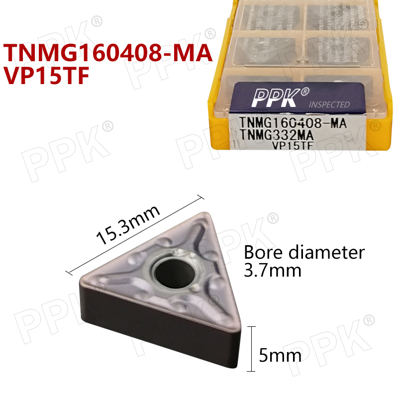 TNMG160408 MA VP15TF 10pcs <font><b>TNMG</b></font> <font><b>160408</b></font> Carbide insert Lathe cutter Tools external turning tool solid carbide inser image