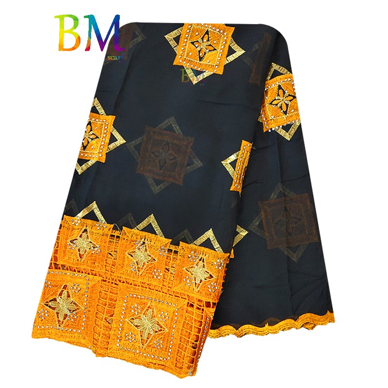 Latest African Women Scarf 100% Cotton Embroidery Scarf  Muslim Hijab Scar Diamond Design For Muslim Women BX126