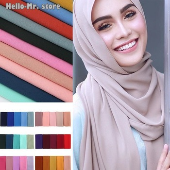 Women plain bubble chiffon scarf hijab wrap printe solid color shawls headband muslim hijabs scarves/scarf 61 colors