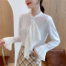 Korean Fashion Chiffon Women Blouses Solid Flare Sleeve White Women Shirts Plus Size XXL Blusas Femininas Elegante Ladies Tops цена