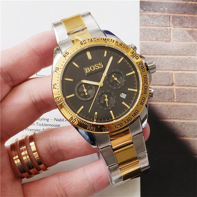 Hot Selling Boss Watches For Men Stainless Steel Quartz Movement Mens Watch All Functional Small Dial Work Designer Stopwatch