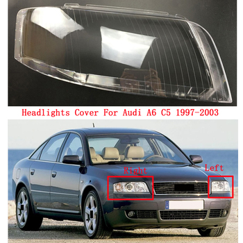 Front Headlamps headlights glass lamp shell transparent cover Lens Masks For Audi A6 C5 1997-2003