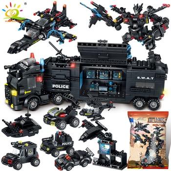 HUIQIBAO SWAT Police Station Truck Machine Building Blocks City Helicopter Car Special Forces Figures Bricks Educational Toys полякова татьяна викторовна как бы не так