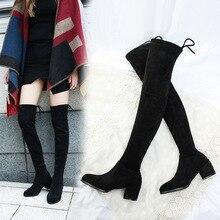 Clássicos Da Moda Outono Inverno Sobre O Joelho Botas De Cano Alto para As Mulheres Do Dedo Do Pé Apontado Saltos Casco Do Vintage Longas Botas Flock Sólidos sapatos