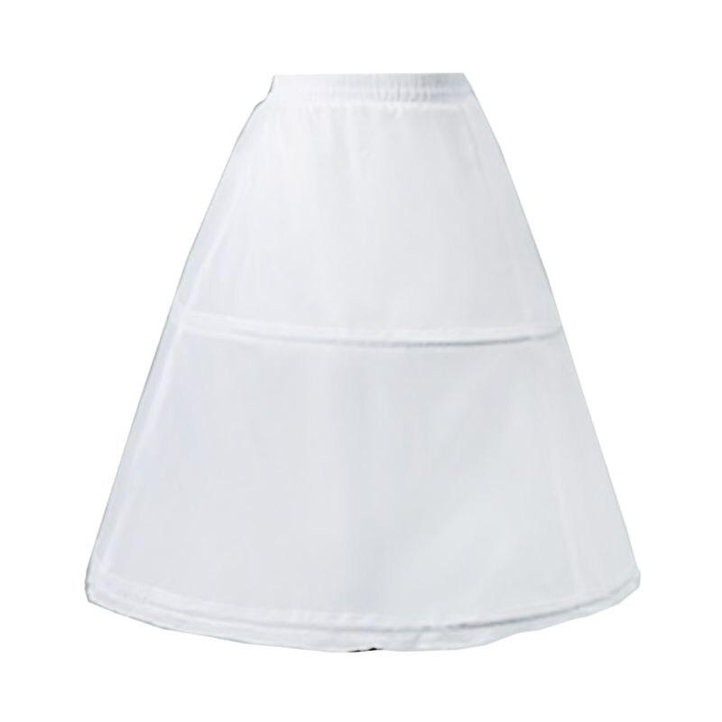 Kids Flower Girls 2 Hoop Single Layer A-Line Crinoline Drawstring Elastic Waist Petticoat For Wedding Dress Underskirt Half Sli