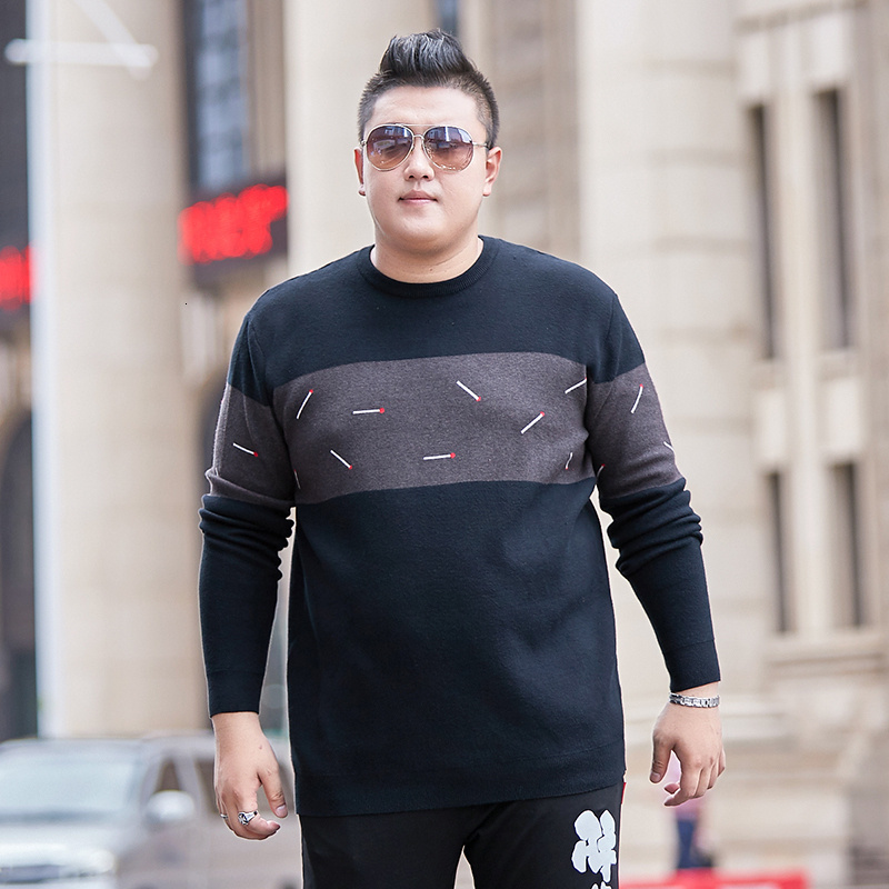 Large 8XL Men's Brand Autumn Dress Fat Guy Irregular Pattern Round Neck Loose Fit Personality Sweater Fashion Knitted Sweater