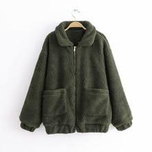 Elegant Faux Fur Coat Women 2019 Autumn Winter Warm Soft Zipper Fur Jacket Female Plush Overcoat Pocket Casual Teddy Outwear