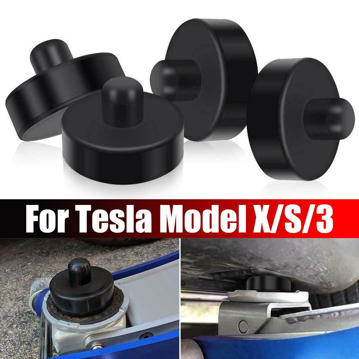 1/4Pcs Black Rubber Jack Lift Point Pad Adapter Jack Pad Tool Chassis Jack Car Styling Accessories For Tesla Model X/S/3