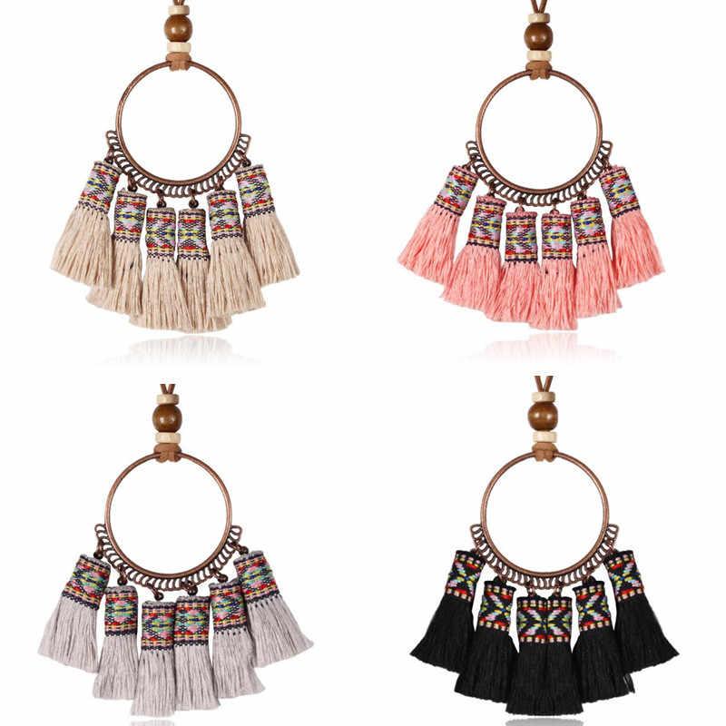 Diezi Bohemian Etnis Panjang Jumbai Fringed Lingkaran Besar Kalung 5 Warna Sweater Rantai Manik-manik Kayu Chokers Kalung Perhiasan