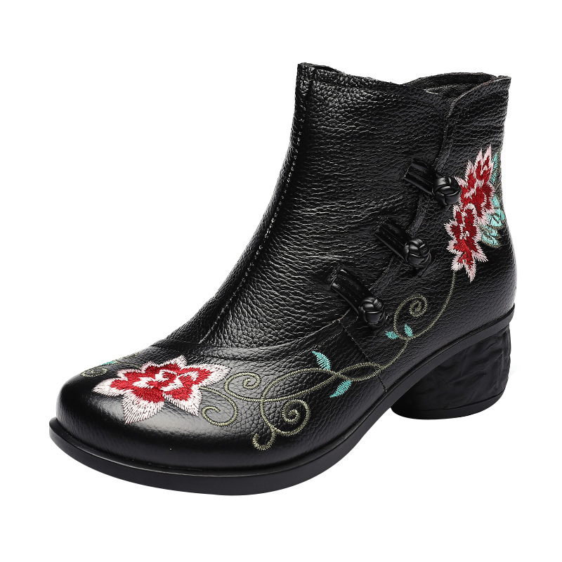 Buy High Quality 2020 Autumn Winter Ankle Boots for Women Genuine Leather High Heel Booties Ankle botas Flower Embroidery Shoes