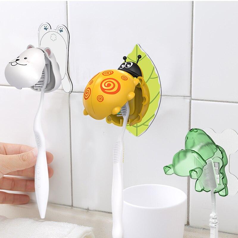 Cartoon Toothbrush Holder Automatic Toothpaste Dispenser Holder Bathroom Accessories Set Wall Mount Rack Bathroom Tools Set