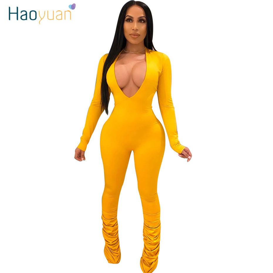 HAOYUAN Sexy Rompers Womens Jumpsuit Rave Festival Clothes One Piece Clubwear Outfit Deep V Neck Long Sleeve Bodycon Overalls