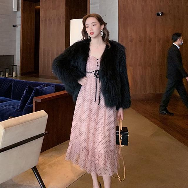French Vintage Midi Dress Women Puffer Sleeve Square Collor Office Elegant Dress Female 2021 Spring Dot One Piece Dress Korean 5