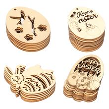 40 sztuk drewniane wielkanoc dekoracje wiszące wielkanoc tematyczne unikalne dekoracje wiszące wystrój rzemioślniczy wystrój tanie tanio CN (pochodzenie) Drewno PODŁUBAĆ Pakiet