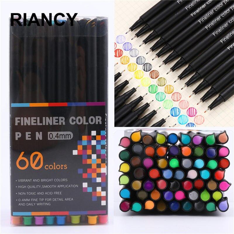 12/24/36/48/60pcs Colorful Neutral Maker Pen Fineliner Pens For School Office Pen Set Kawaii Ink Pen Art Supplies Cute 04031