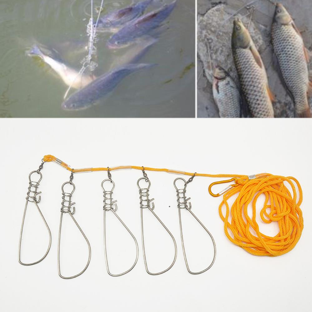 Fishing Tackle Accessories Fishing Lock Buckle Stainless Steel Live Fish Stringer 5 M