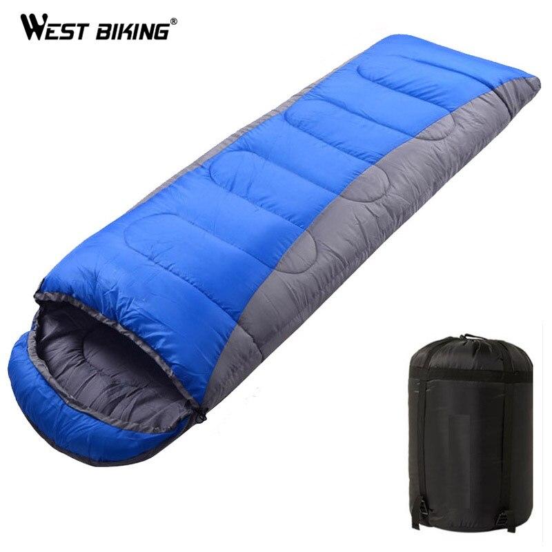 WEST vélo sac de couchage ultra-léger Camping enveloppe sac de couchage thermique adulte hiver plein air voyage 4 saisons sac de couchage