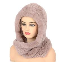 Mulheres Malha Real Rex Pele De Coelho Chapéu Cachecol Com Capuz chapéus de Inverno para a Mulher Cap Quente Chapéu De Pele Natural Com Pescoço lenços