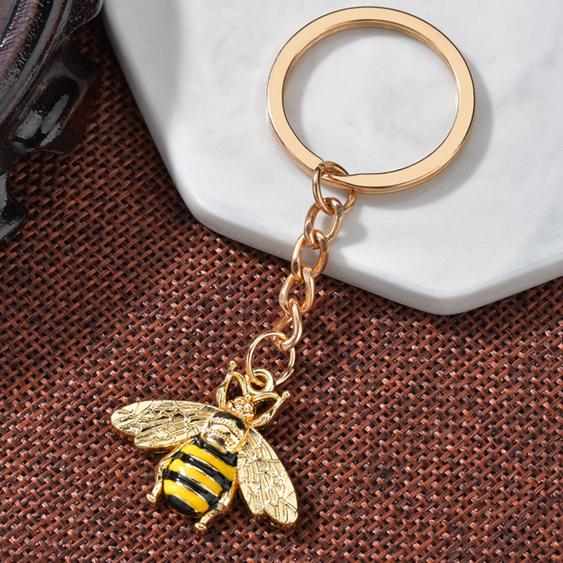 Classic Bee Key Ring Metal Key Chain Keychain Jewelry Gift Rose Gold  Bee Insect Palm And Heartbeat Enamel Jewelry For Unisex