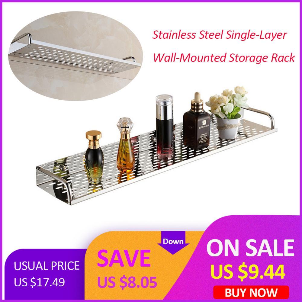 Stainless Steel Bathroom Kitchen Shelf Wall-mounted Storage Rack Single Layer