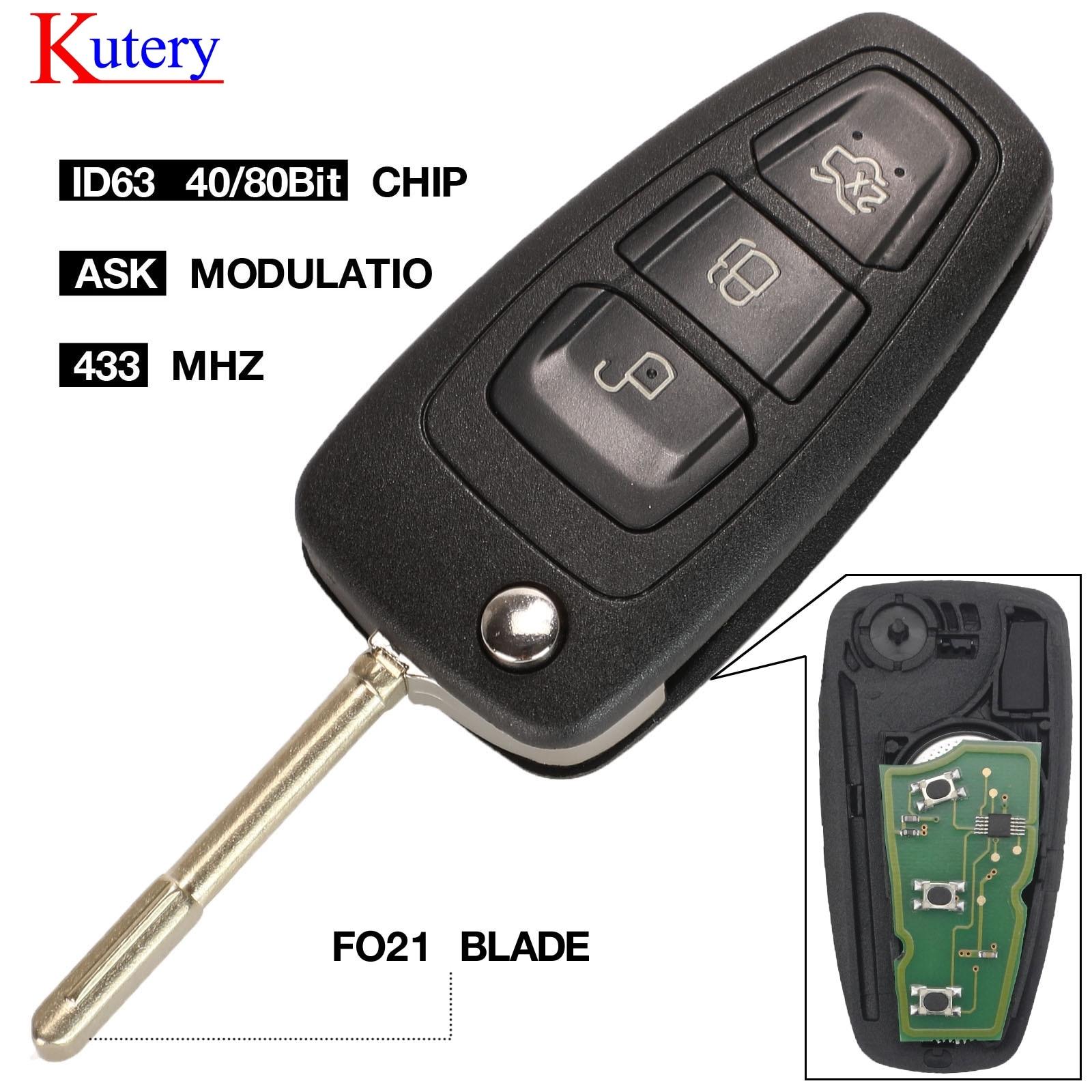 Carcasa de repuesto para llave de coche con 3 botones FO21 Blade Flip Cubierta para mando a distancia plegable para Focus Mk1 Mondeo Transit Connect