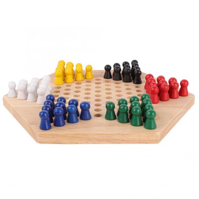 Jeu de dames chinois en bois conseil éducatif enfants classique Halma jeu de dames chinois stratégie famille jeu pièces Backgammon 4