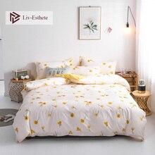 Liv-Esthete Fashion Art Flower Bedding Set Soft Duvet Cover Bedspread Flat Sheet Pillowcase Single Double Queen King Bed Linen