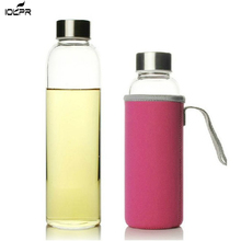 Glass Water Bottle 280ml/360ml/550ml Sport with Stainless Steel Lid and Protective Bag BPA Free Travel Drink