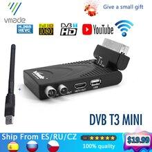 Vmade 2020 HD dijital alıcı tv tuner DVB t2 karasal alıcı desteği ile youtube usb wifi dvb t2 dekoder h.265 tv kutusu