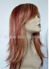 Wig Women's Long Dark Red Mix Blonde Cosplay Anti- Alice Hair wigs no lace front made wigs(China)