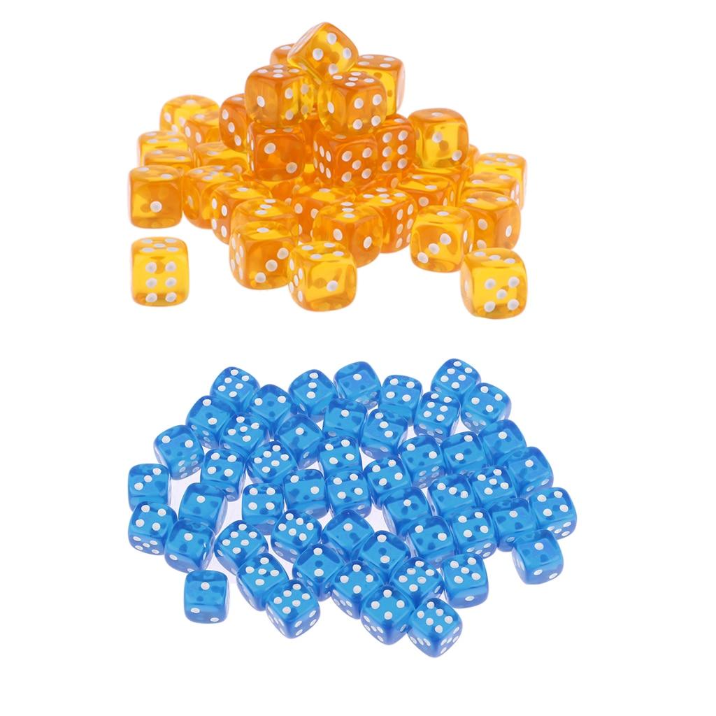 100 Pieces Acrylic Dice Lot D6 Set Translucent Color Wholesale -Blue,Orange
