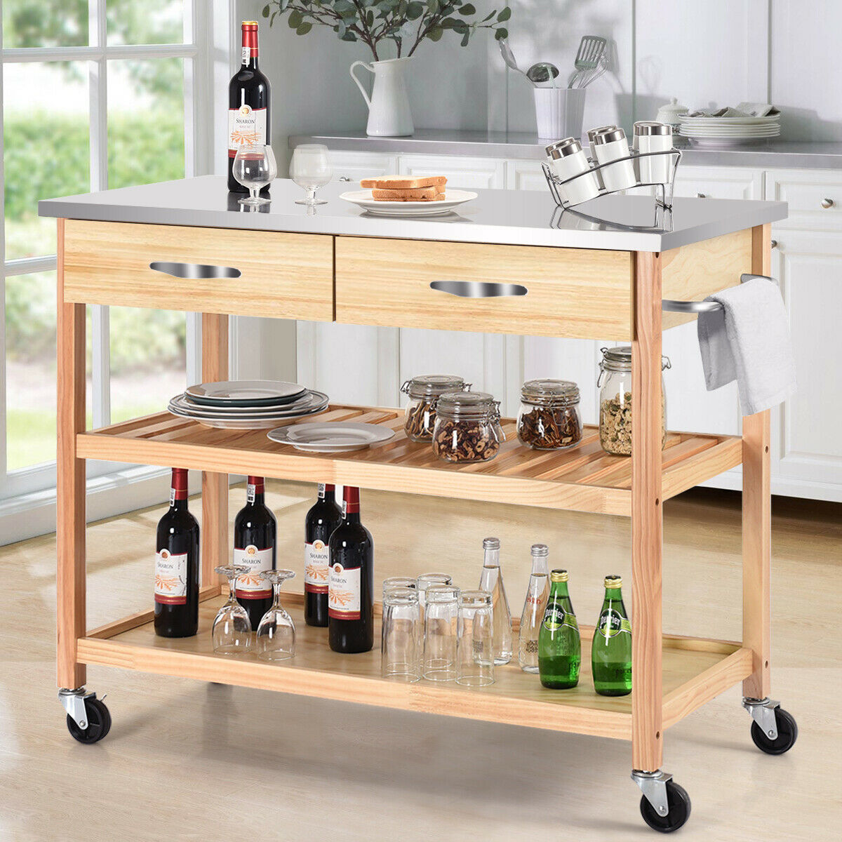 Rolling Portable Kitchen Island With Stainless Steel Countertop Storage Drawer Shelf Borkut