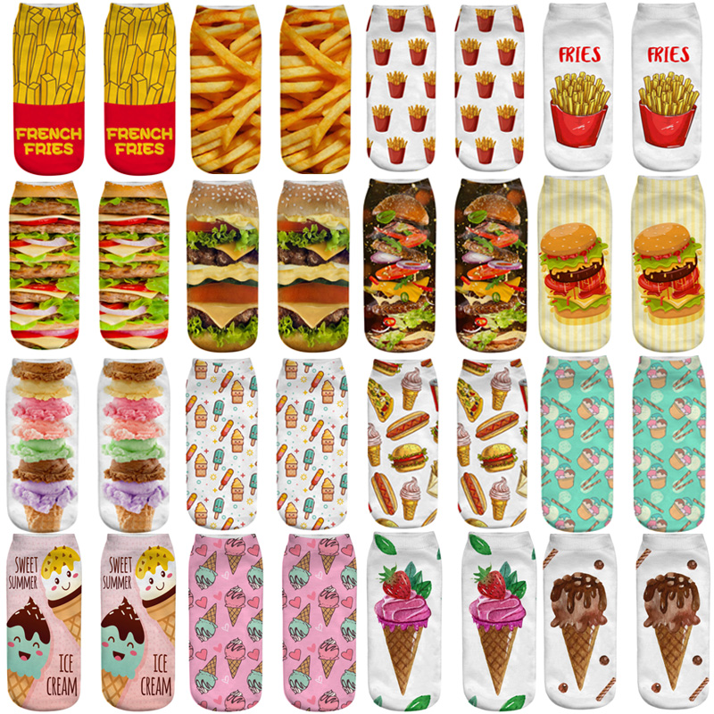 Funny Unisex Men Art Socks Women Printing Potato Chips French Fries Hamburger Ice Cream Ankle Socks Cotton Short Socks For Men