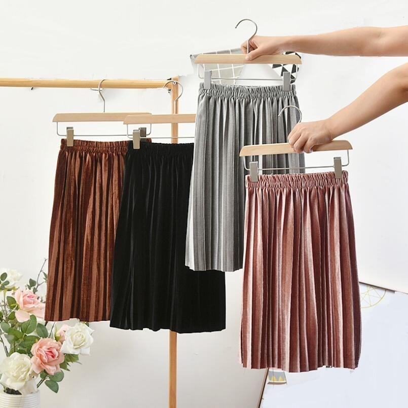 Новая весенне-осенне-зимняя детская одежда, бархатная юбка, Детская плиссированная юбка, юбки для школьниц