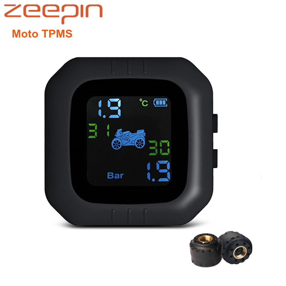 Zeepin Moto TPMS USB Charging Motorcycle Motorbike LCD Screen Display Tire Pressure Monitoring System With 2 External Sensors