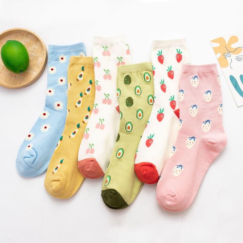 Women Fashion Japanese Style Sock Cute Cartoon Fruit Print Sox Funny Avocado Strawberry Cherry Harajuku Flower Socks for Girls
