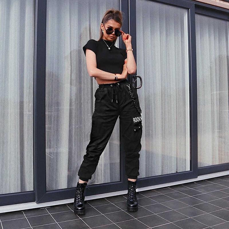 Rapwriter Punk Stijl Keten Rechte Brief Broek Wit Vrouwen 2019 Streetwear Hoge Taille Broek Joggers Lange Broek Capri Pocket